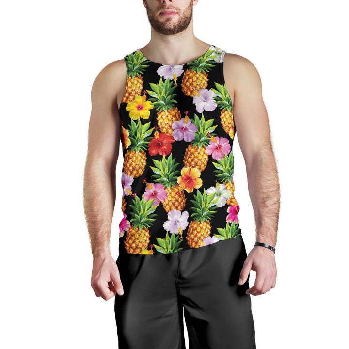 Aloha Hibiscus Pineapple Pattern Print Men's Tank Top GearFrost