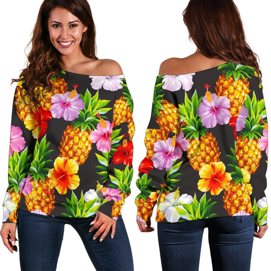 Aloha Hibiscus Pineapple Pattern Print Off Shoulder Sweatshirt GearFrost