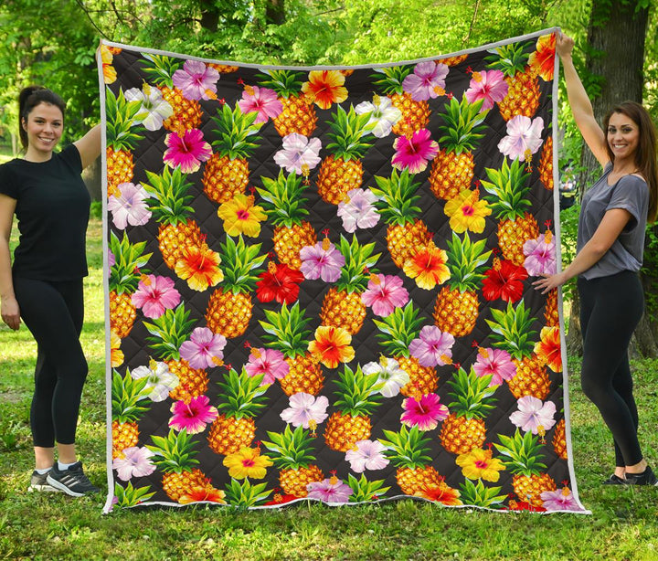 Aloha Hibiscus Pineapple Pattern Print Quilt GearFrost