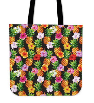 Aloha Hibiscus Pineapple Pattern Print Tote Bag GearFrost