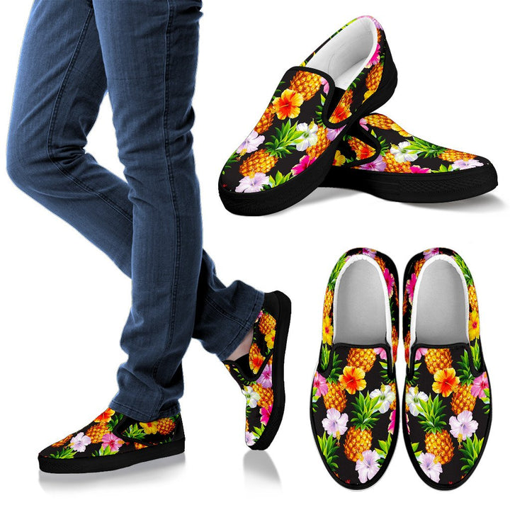 Aloha Hibiscus Pineapple Pattern Print Women's Slip On Shoes GearFrost