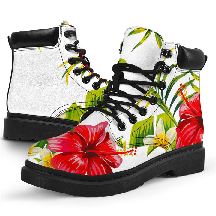 Aloha Hibiscus Tropical Pattern Print All Season Boots GearFrost