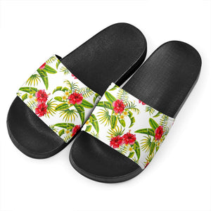 Aloha Hibiscus Tropical Pattern Print Black Slide Sandals GearFrost