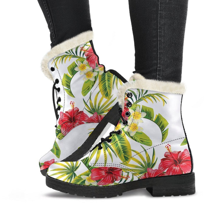 Aloha Hibiscus Tropical Pattern Print Comfy Boots GearFrost