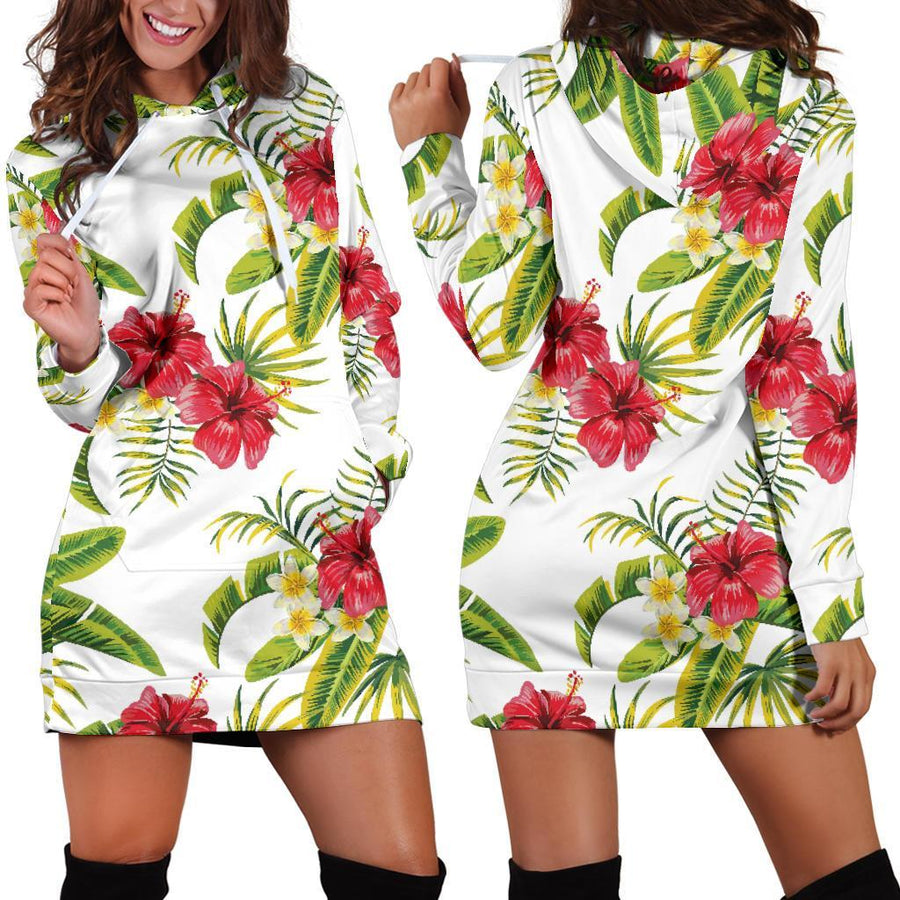 Aloha Hibiscus Tropical Pattern Print Hoodie Dress GearFrost