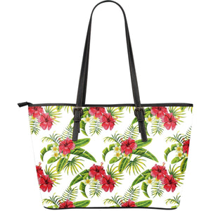 Aloha Hibiscus Tropical Pattern Print Leather Tote Bag GearFrost