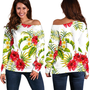 Aloha Hibiscus Tropical Pattern Print Off Shoulder Sweatshirt GearFrost