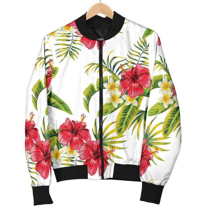 Aloha Hibiscus Tropical Pattern Print Women's Bomber Jacket GearFrost