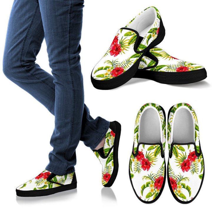 Aloha Hibiscus Tropical Pattern Print Women's Slip On Shoes GearFrost