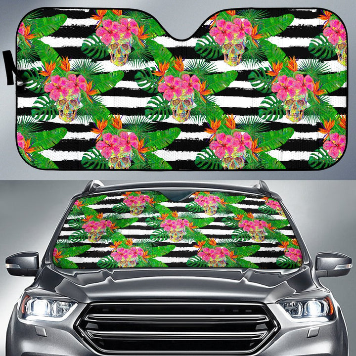 Aloha Skull Striped Pattern Print Car Sun Shade GearFrost