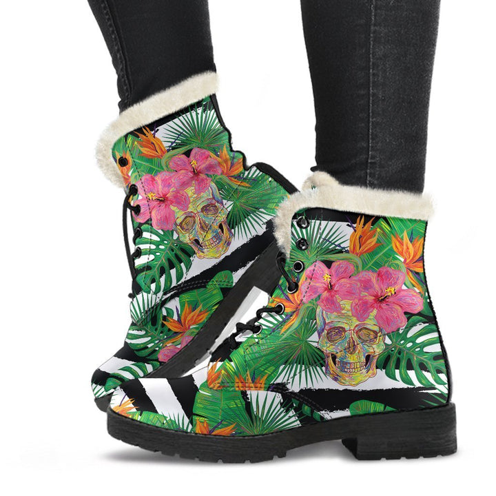 Aloha Skull Striped Pattern Print Comfy Boots GearFrost