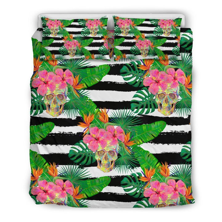 Aloha Skull Striped Pattern Print Duvet Cover Bedding Set GearFrost
