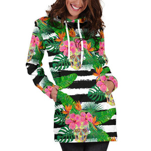 Aloha Skull Striped Pattern Print Hoodie Dress GearFrost