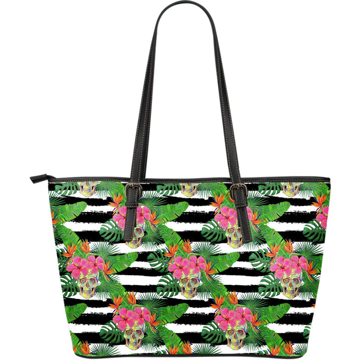 Aloha Skull Striped Pattern Print Leather Tote Bag GearFrost
