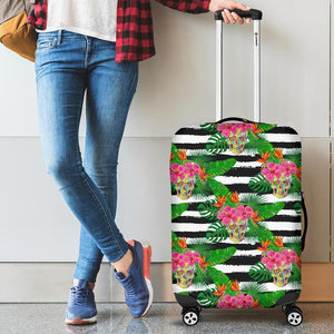 Aloha Skull Striped Pattern Print Luggage Cover GearFrost