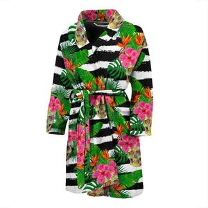 Aloha Skull Striped Pattern Print Men's Bathrobe GearFrost