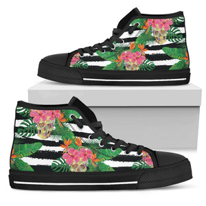 Aloha Skull Striped Pattern Print Men's High Top Shoes GearFrost