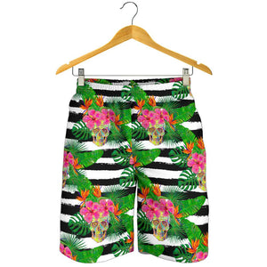 Aloha Skull Striped Pattern Print Men's Shorts GearFrost