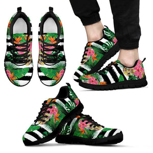 Aloha Skull Striped Pattern Print Men's Sneakers GearFrost