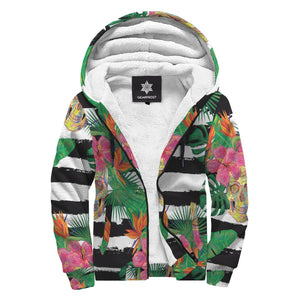 Aloha Skull Striped Pattern Print Sherpa Lined Fleece Hoodie GearFrost