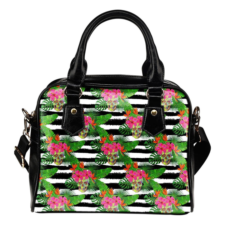 Aloha Skull Striped Pattern Print Shoulder Handbag GearFrost