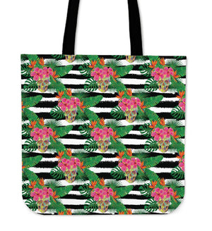 Aloha Skull Striped Pattern Print Tote Bag GearFrost