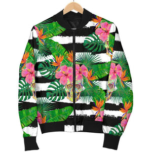 Aloha Skull Striped Pattern Print Women's Bomber Jacket GearFrost