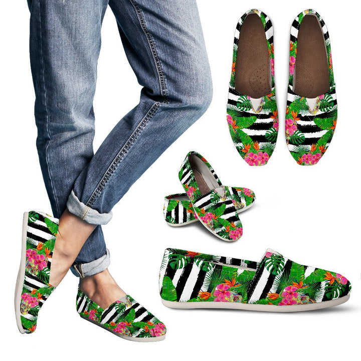 Aloha Skull Striped Pattern Print Women's Casual Shoes GearFrost