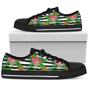 Aloha Skull Striped Pattern Print Women's Low Top Shoes GearFrost