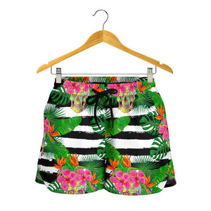 Aloha Skull Striped Pattern Print Women's Shorts GearFrost