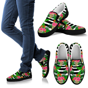 Aloha Skull Striped Pattern Print Women's Slip On Shoes GearFrost