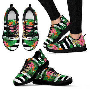 Aloha Skull Striped Pattern Print Women's Sneakers GearFrost