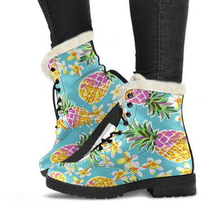 Aloha Summer Pineapple Pattern Print Comfy Boots GearFrost