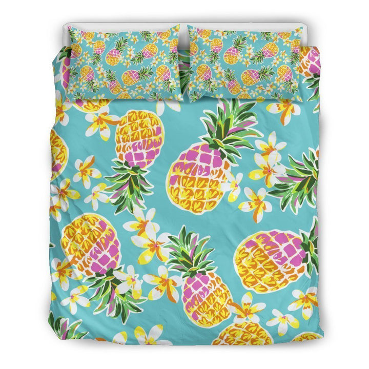 Aloha Summer Pineapple Pattern Print Duvet Cover Bedding Set GearFrost