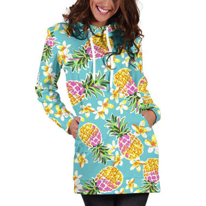 Aloha Summer Pineapple Pattern Print Hoodie Dress GearFrost