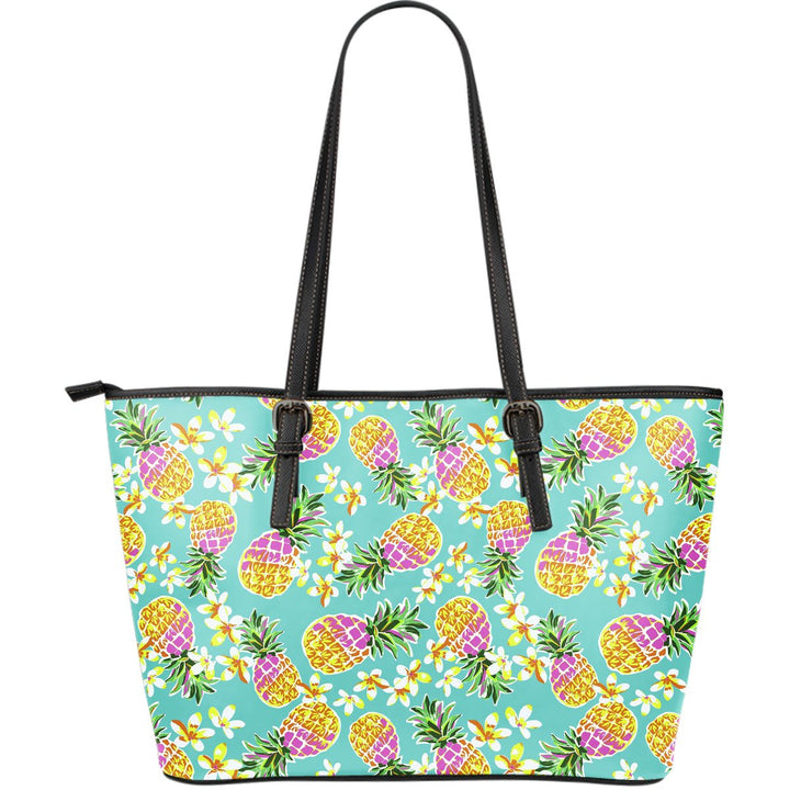 Aloha Summer Pineapple Pattern Print Leather Tote Bag GearFrost