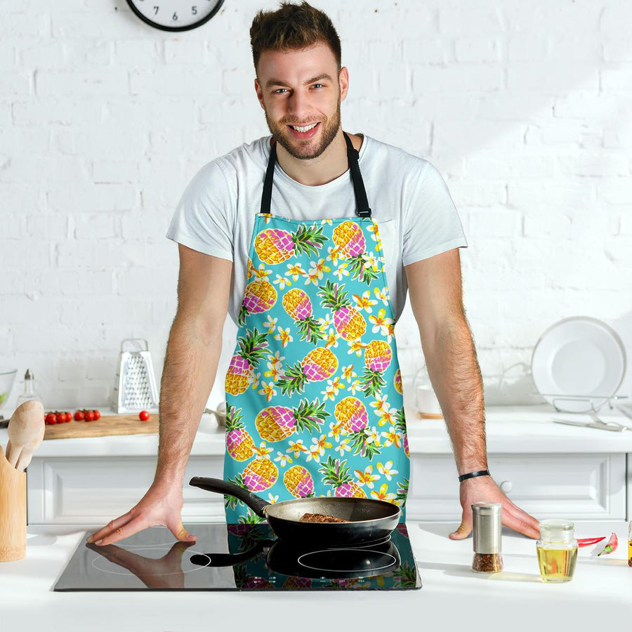 Aloha Summer Pineapple Pattern Print Men's Apron GearFrost