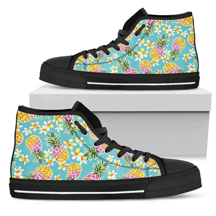Aloha Summer Pineapple Pattern Print Men's High Top Shoes GearFrost