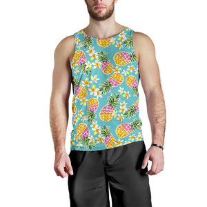 Aloha Summer Pineapple Pattern Print Men's Tank Top GearFrost