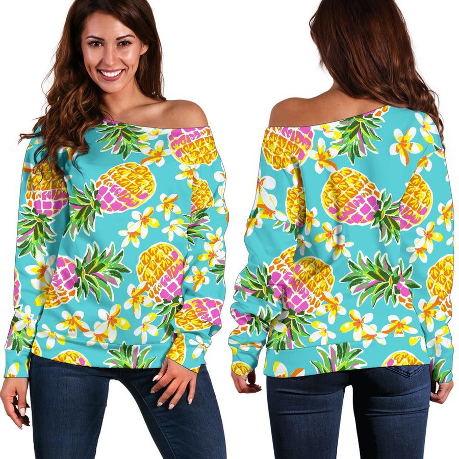 Aloha Summer Pineapple Pattern Print Off Shoulder Sweatshirt GearFrost
