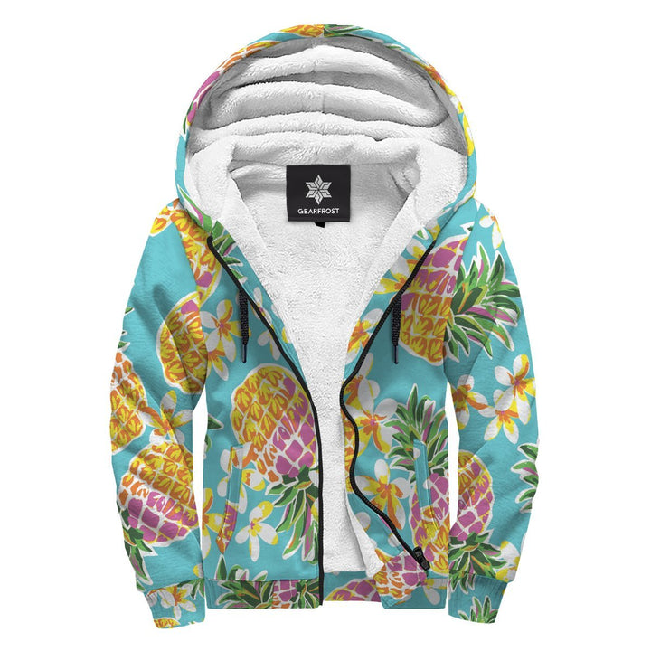 Aloha Summer Pineapple Pattern Print Sherpa Lined Fleece Hoodie GearFrost