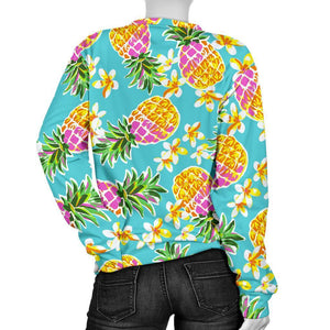 Aloha Summer Pineapple Pattern Print Women's Crewneck Sweatshirt GearFrost