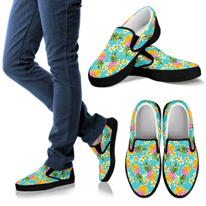 Aloha Summer Pineapple Pattern Print Women's Slip On Shoes GearFrost