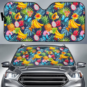 Aloha Tropical Fruits Pattern Print Car Sun Shade GearFrost