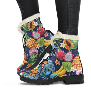 Aloha Tropical Fruits Pattern Print Comfy Boots GearFrost