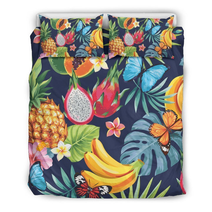 Aloha Tropical Fruits Pattern Print Duvet Cover Bedding Set GearFrost