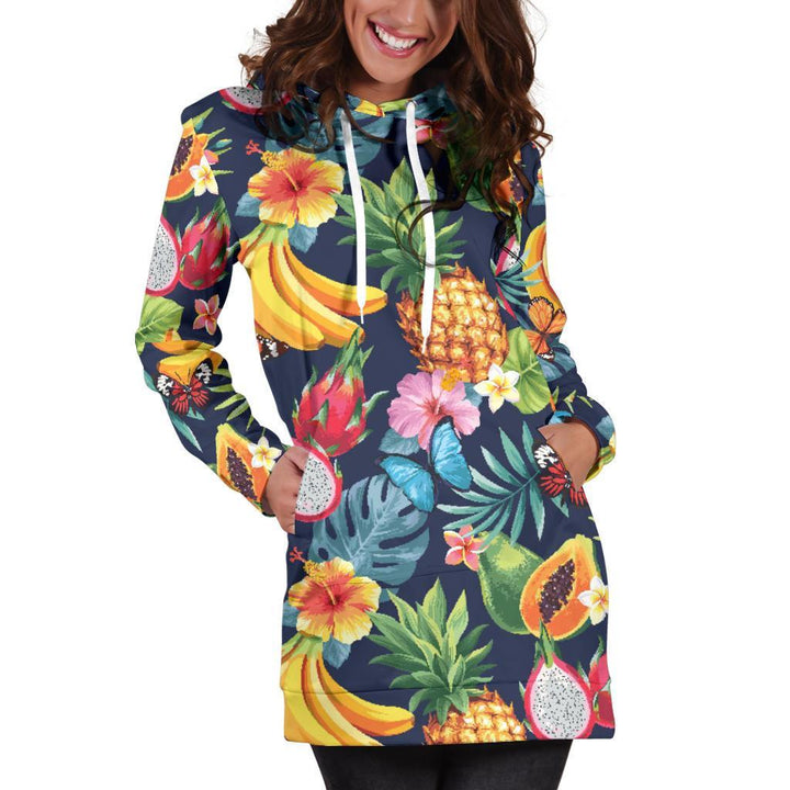 Aloha Tropical Fruits Pattern Print Hoodie Dress GearFrost