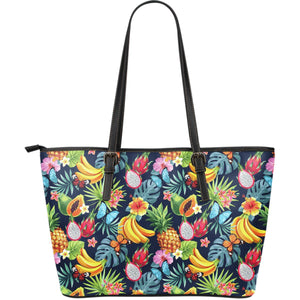Aloha Tropical Fruits Pattern Print Leather Tote Bag GearFrost