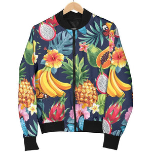 Aloha Tropical Fruits Pattern Print Men's Bomber Jacket GearFrost