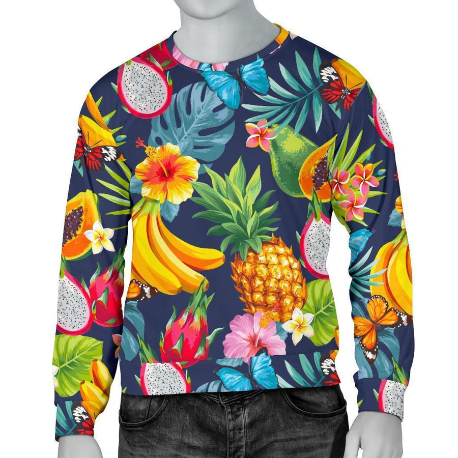 Aloha Tropical Fruits Pattern Print Men's Crewneck Sweatshirt GearFrost